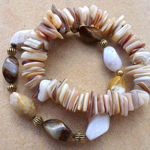 Shell & Agate Elastic Stretch Boho Bead Bracelets